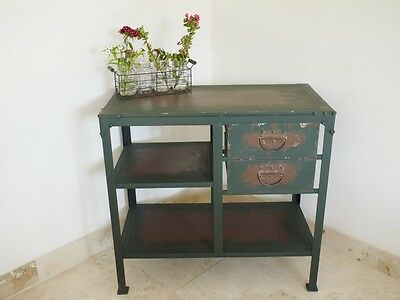 Vintage Industrial Metal Cabinet with 2 Draw Retro style Storage Furniture 3355