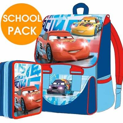 Kit Scuola School Pack Zaino Estensibile + Astuccio 3 Zip Disney Cars Mc Queen