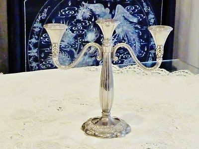 Fantastic  Vintage 3 Arm Baroque Style Silver Plated  Candelabra .