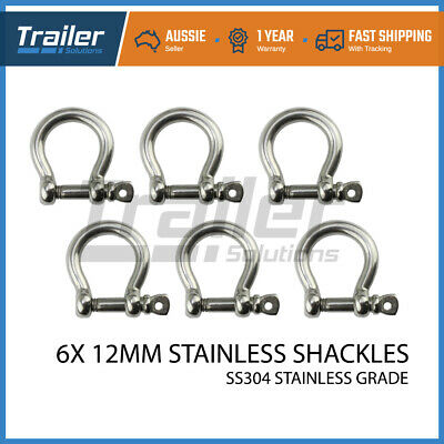 x6 12mm 304 STAINLESS STEEL BOW SHACKLE M12 - Marine/Boat/Sailing/Shade/Sail