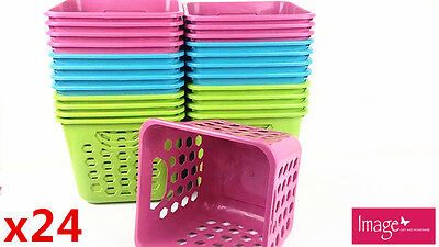 24 x Random Color Multi-Purpose Square Plastic Mini Basket Storage 53213
