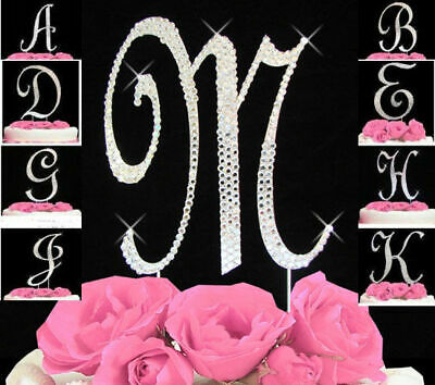 Monogram Cake Toppers Complete Covered Crystal Bling Silver A to Z Any Letter