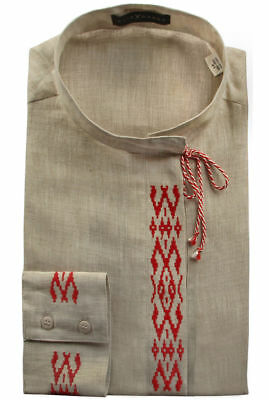 Belarussian embroidery embroidered mens shirt 100% Linen Eco Ethnic Vyshyvanka