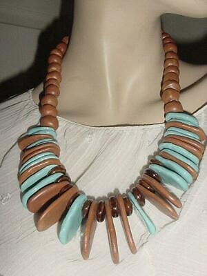 VTG Old  BOHO TRIBAL Hand Made Turquoise Ceramic &  Clay Beads Necklace    #1352