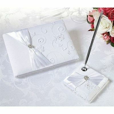 White Satin Wedding Guest Book and Pen Set with Lace Design