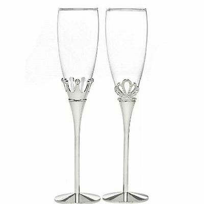 King and Queen Wedding Toasting Flutes Set of 2 Wedding Toasting Glasses