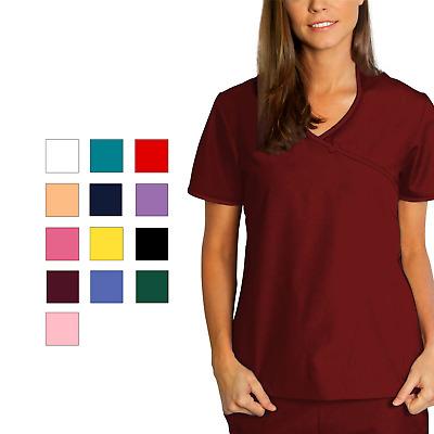 Adar Women Medical Nurse Uniform Asian Style Mock Wrap Crossover Scrub Top