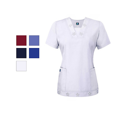 Adar Women Medical Nurse Uniform Embroidered Eyelet V-Neckline Scrub Top