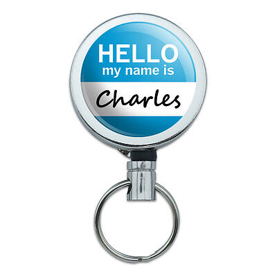 Retractable Reel Badge Key Holder with Belt Clip Hello My Name Is CA-CY