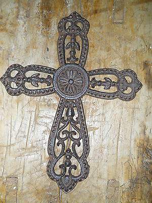 Cast Iron Victorian Style RELIGIOUS CROSS  Rustic Ranch Western Decor #18