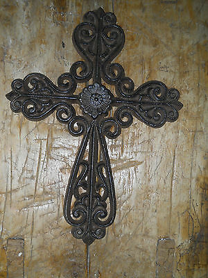 Cast Iron Victorian Style RELIGIOUS CROSS  Rustic Ranch Western Decor #30