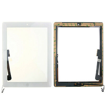 White Touch Screen Digitizer Glass+ Home Button Tape Assembly For iPad 4 4th Gen