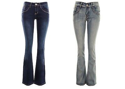 Women's Kick Flare Bell Bottom Jeans Ladies Low Rise Skinnie Flared Stone Wash B