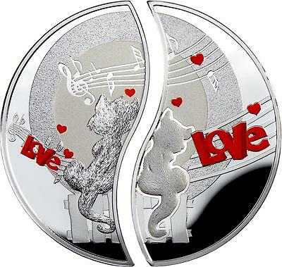 Niue 2013 2x $1 Cats - In Love 2x 1 Oz Silver Proof Coin Set with Blister