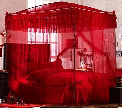 Red Princess Lace 4 Post Arched Bed Curtain Canopy Mosquito Net  With Bracket
