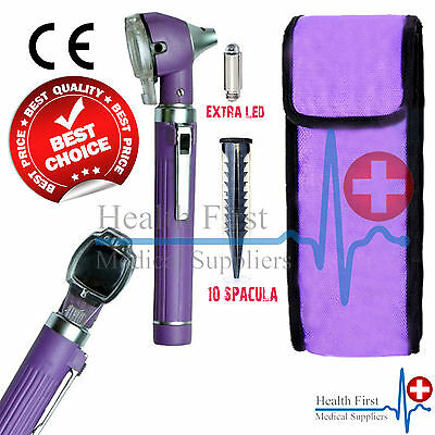 PURPLE Mini Otoscope Fiber Optic Medical Diagnostic Examination CE Approved