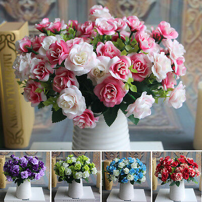 15 heads Spring Fake Silk Flowers Bouquet Artificial Rose Wedding Plant