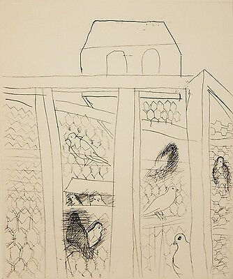 RAOUL DUFY-French Modernist-Hand Numbered LIM.ED Etching-Pigeon House-1951
