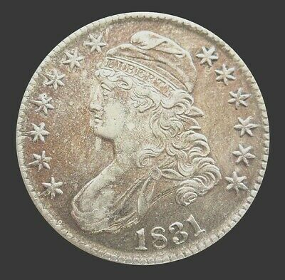 1831 Silver Capped Bust Half Dollar Coin Au Condition Golden Toning