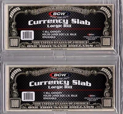 2-Bcw Deluxe Currency Slabs  Large Bill- Crystal Clear Acid Free