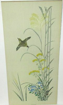 """Japanese """"summer"""" Bird On Yellow Flower Tree Watercolor Painting Signed"""