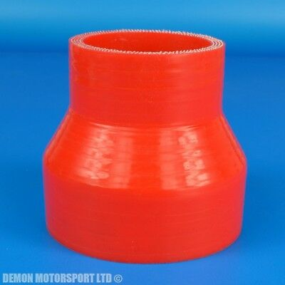 """2.25"""" to 2.5"""" / 57mm to 63mm Reducing Silicone Hose Straight Reducer ( Red )"""