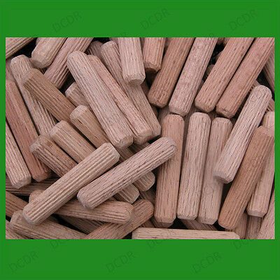 100x 25mm Fluted 8mm Diameter Hardwood Dowels, Fixing, Wooden Plugs, Pegs, Pins