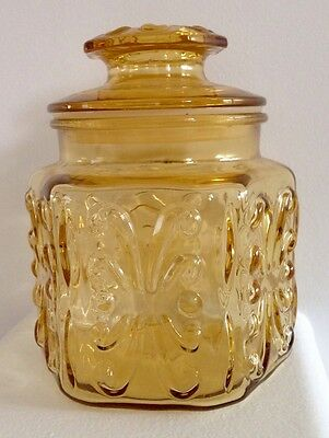 Vintage L.E. SMITH IMPERIAL ATTERBURY SCROLL Amber glass Canister Jar Container