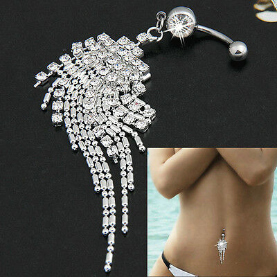 NEW Body Piercing Jewelry Crystal Tassel Chain Dangle Navel Belly Button Ring 1P