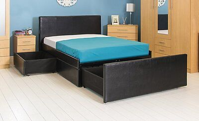 NEW!! 3 Draw Storage Bed Black or Brown Faux Leather Double or King Size