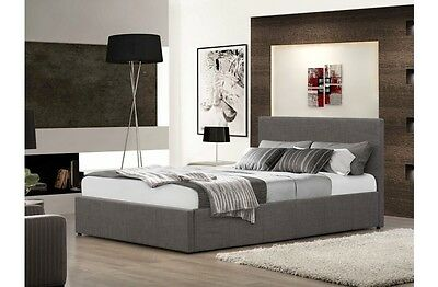 Fabric Grey Wheat or Chocolate Gas Lift Bed Storage Ottoman Range of Mattresses