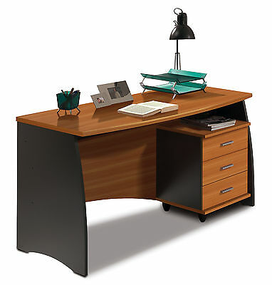 Primo Office Furniture Computer Desk Bookcase Unit with Doors Grey + Chestnut