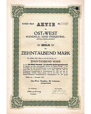 Ost-West Handels- und Industrie AG 10000RM 11/1922