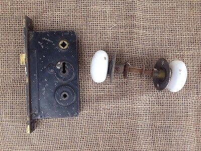 Vintage Antique Sager Mortise Lock Deadbolt Latch White Porcelain Door Knobs