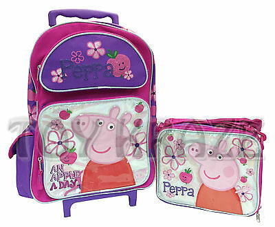 """Peppa Pig Rolling Backpack Or Lunch Set! Silver Foil Apple A Day Roller 16"""" Nwt"""