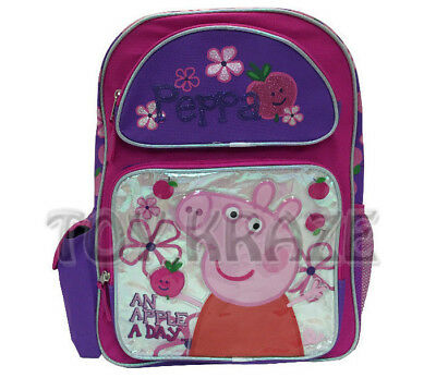 """Peppa Pig Backpack! Apple A Day Large School Bag Tote 16"""" Nwt"""