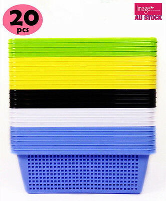 20x Multi-Purpose Plastic Storage Basket 34x27.5x11cm Random Color BK40702