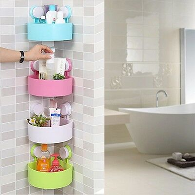 Kitchen Bathroom Shower Corner Storage Shelf Holder Rack Organizer Box Sucker
