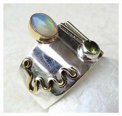 GENUINE 925 Sterling Silver & Copper ETHIOPIAN OPAL RING SIZE Q 1/2 ~  US 8 1/2