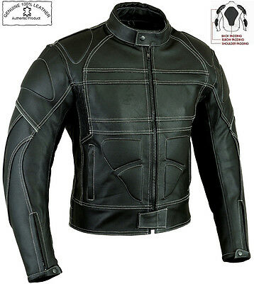 Skorpian Style Mens Black Ce Armour Motorbike / Motorcycle Leather Jacket
