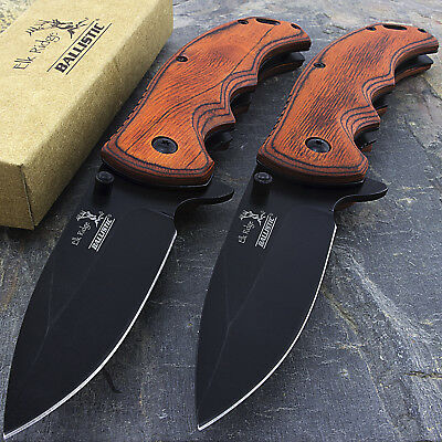 "TWO 8.25"" ELK RIDGE BROWN PAKKAWOOD TACTICAL SPRING ASSISTED FOLDING KNIFE Blade"