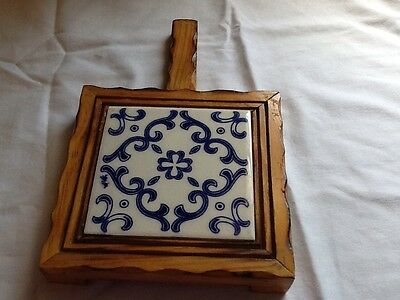"Ceramic Mexican DAL Tile Blue White Trivet Wood Handle Footed 6"" X 6"""