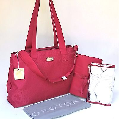 RRP$395 Oroton Nappy Baby STENCIL Bag Tote Handbag Change Mat Wet Pack Red