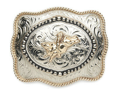 ANDWEST - Handfinished Buckle Bull Rider Motif Gold-Toned Roper Border - 915