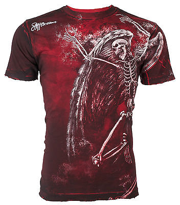 AFFLICTION Mens T-Shirt RELINQUISH Tattoo RED Motorcycle Biker MMA UFC Jeans $56