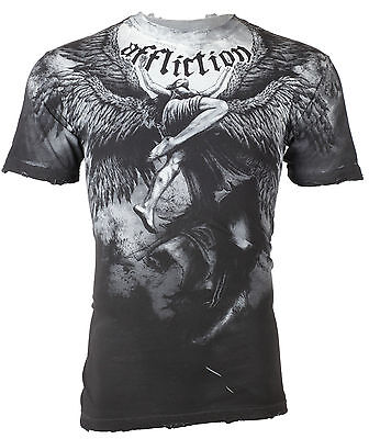 AFFLICTION Mens T-Shirt UPWARD Angel Wings GREY Tattoo Biker MMA UFC Jeans $63