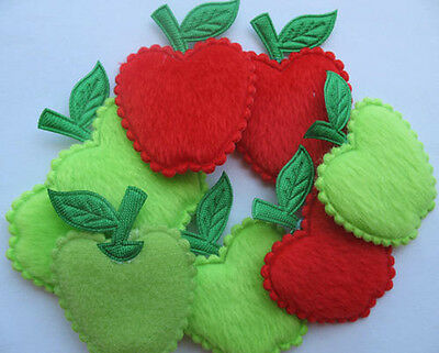 Red/Green Padded Felt Apple Appliques x 50 - Nice Craft