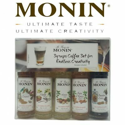Monin Coffee Syrup Gift Set 5x50ml Bottles with recipes & Stencils, Costa Coffee