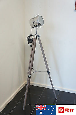 FLOOR LAMP WOOD Brown Stand Hollywood Chrome Shade