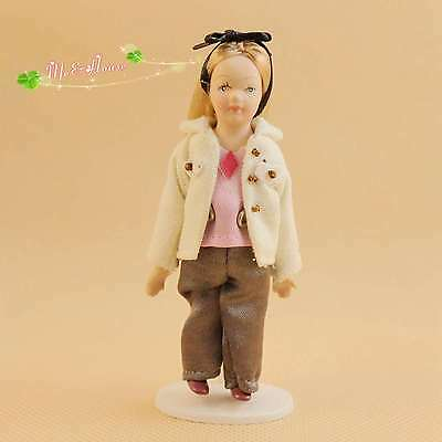 1/12 dollhouse porcelain doll girl with blue headband with stand